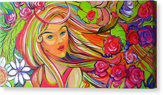 Canvas Print featuring the painting The Girl With The Flowers In Her Hair by Jeanette Jarmon