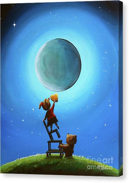 Full Moon Canvas Print - The Girl With The Golden Heart by Cindy Thornton