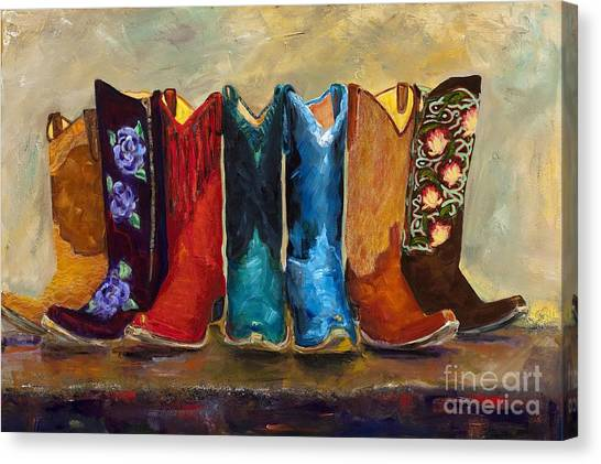 Cowboy Boots Canvas Print - The Girls Are Back In Town by Frances Marino