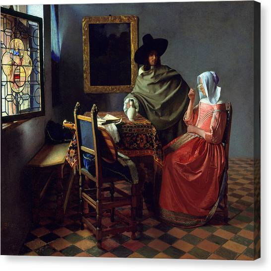 Baroque Art Canvas Print - The Glass Of Wine by Jan Vermeer