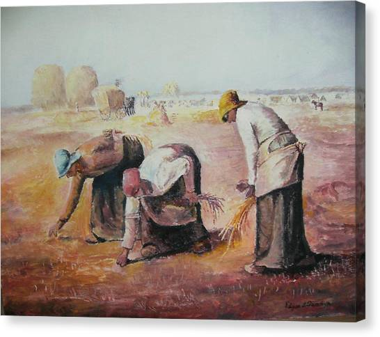 The Gleaners After Millet By My Dad Canvas Print by Anne-Elizabeth Whiteway