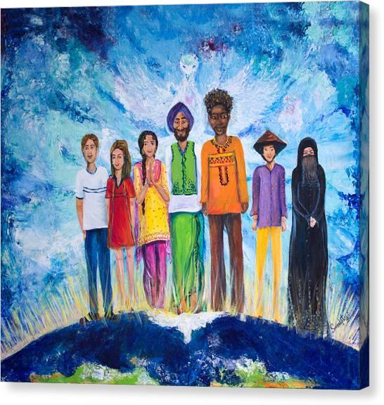 Sikh Art Canvas Print - The Global Family by Sarabjit Singh