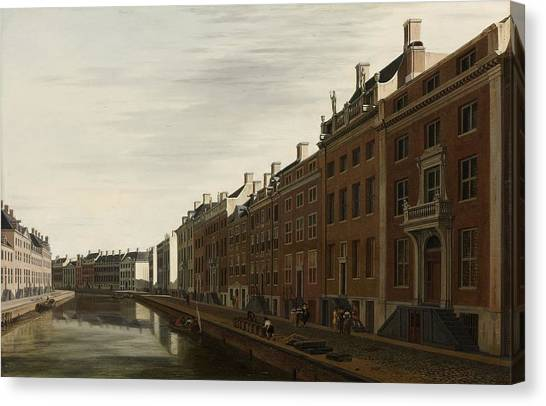 The Golden Bend In The Herengracht, Amsterdam, Seen From The West, 1672 Canvas Print
