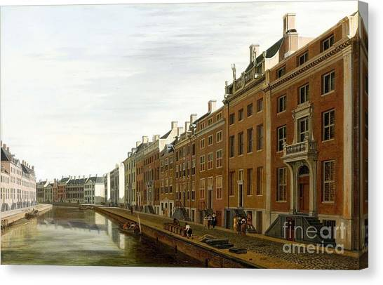 Rijksmuseum Canvas Print - the Golden Bend of the Herengracht in Amsterdam from the west by Celestial Images