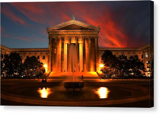 Philadelphia Phillies Canvas Print - The Golden Columns - Philadelphia Museum Of Art - Sunset by Lee Dos Santos