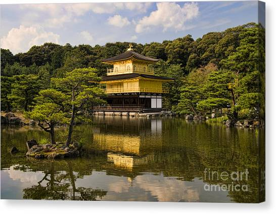 Wetlands Canvas Print - The Golden Pagoda In Kyoto Japan by David Smith