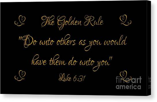 Canvas Print featuring the digital art The Golden Rule Do Unto Others On Black by Rose Santuci-Sofranko