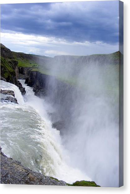 The Golden Waterfall Canvas Print by Elena Tudor