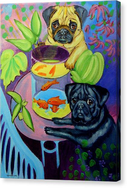 Pugs Canvas Print - The Goldfish Bowl - Pug by Lyn Cook