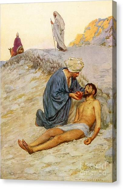 Charities Canvas Print - The Good Samaritan by William Henry Margetson