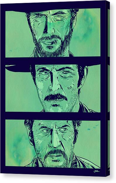 Spaghetti Canvas Print - The Good The Bad And The Ugly by Giuseppe Cristiano