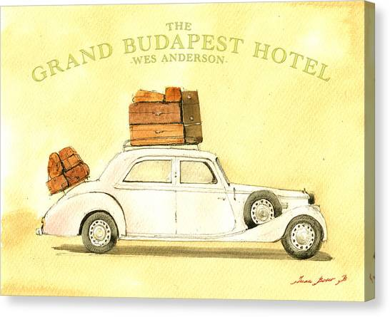 Yellow Canvas Print - The Grand Budapest Hotel Watercolor Painting by Juan  Bosco
