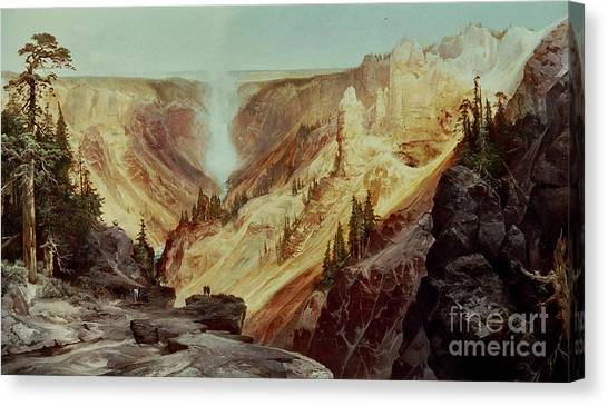 Yellowstone National Park Canvas Print - The Grand Canyon Of The Yellowstone by Thomas Moran