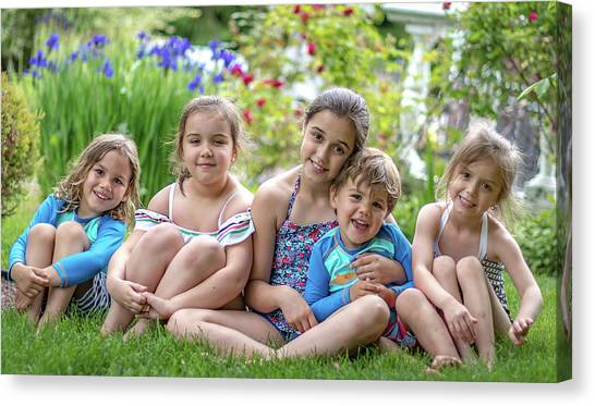 The Grand Kids In The Garden Canvas Print