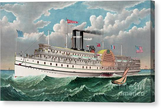 Currier And Ives Canvas Print - The Grand New Steamboat Pilgrim by Currier and Ives