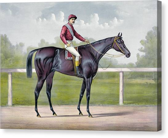 Currier And Ives Canvas Print - The Grand Racer Kingston  by Currier and Ives
