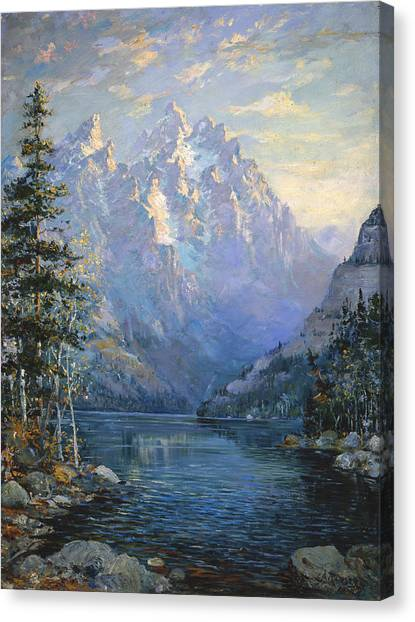 Teton Canvas Print - The Grand Tetons And Jenny Lake by Lewis A Ramsey