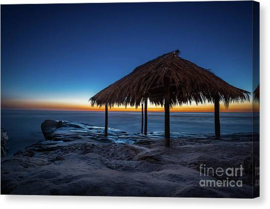 The Grass Shack At Windansea At Sunset Canvas Print
