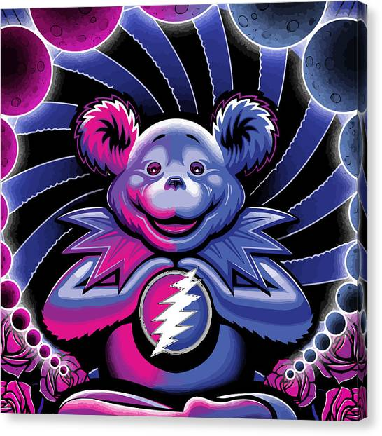 Grateful Dead Canvas Print - The Grateful Bear Ilustration by The Bear