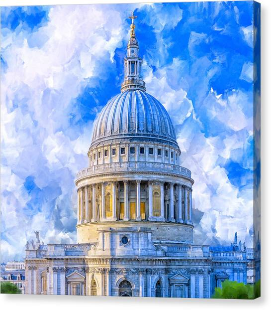 Canvas Print featuring the mixed media The Great Dome - St Paul's Cathedral by Mark Tisdale