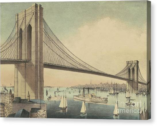 Currier And Ives Canvas Print - The Great East River Suspension Bridge Connecting Manhattan And Brooklyn by Currier and Ives