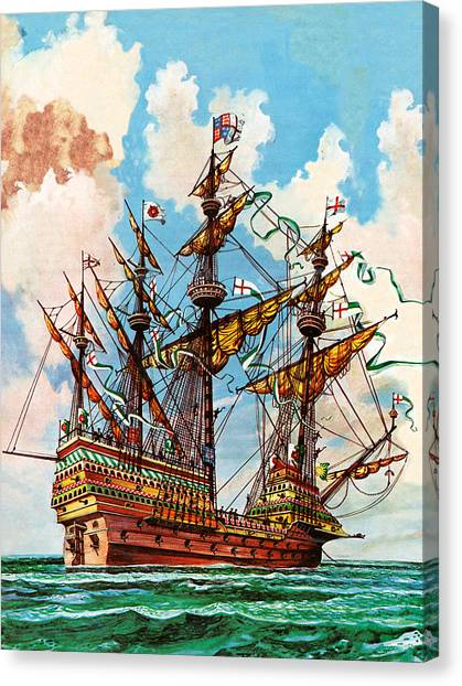 Royal Marines Canvas Print - The Great Harry, Flagship Of King Henry Viii's Fleet by Peter Jackson