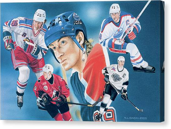 Edmonton Oilers Canvas Print - The Great One by Norb Lisinski
