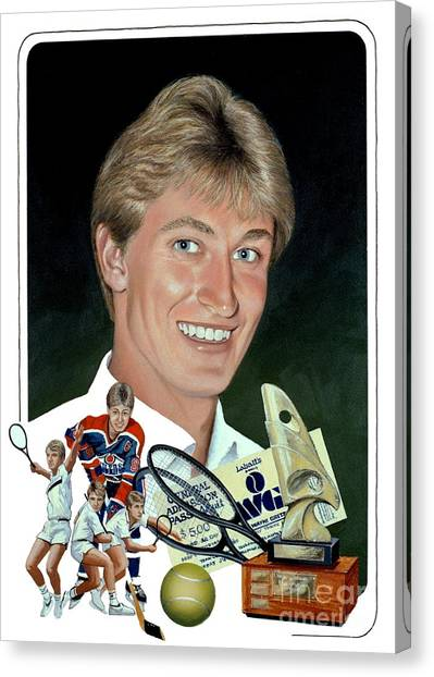 Wayne Gretzky Canvas Print - The Great One - Oiler Days by Michael Swanson