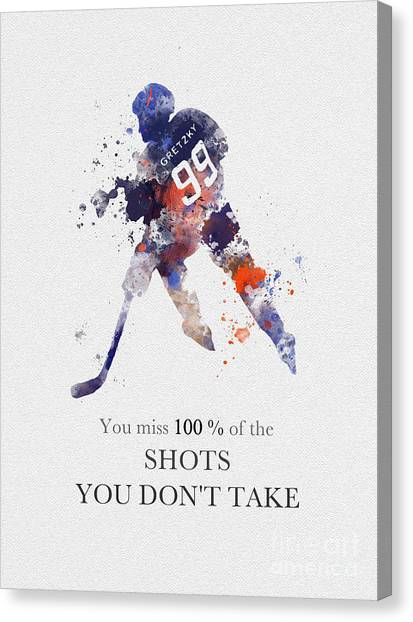 Hockey Players Canvas Print - The Great One Quote by Rebecca Jenkins
