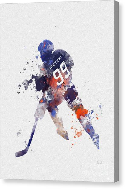 Hockey Players Canvas Print - The Great One by Rebecca Jenkins