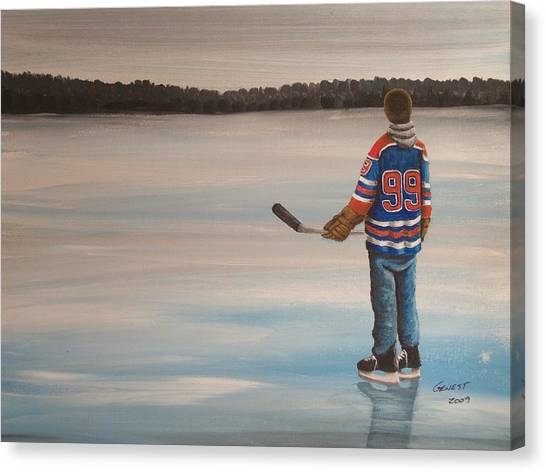 Edmonton Oilers Canvas Print - The Great One by Ron  Genest