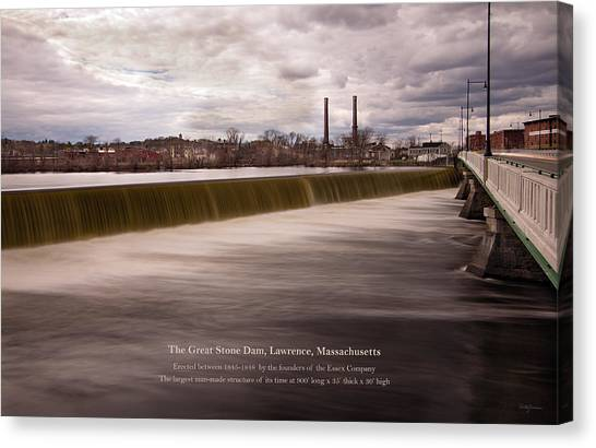 The Great Stone Dam Lawrence, Massachusetts Canvas Print