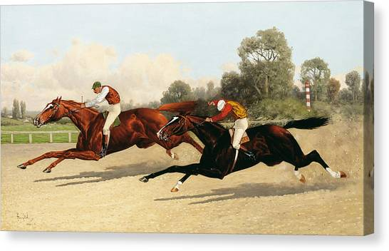 Finish Line Canvas Print - the Great Ten Thousand Dollar Match by Henry Stull