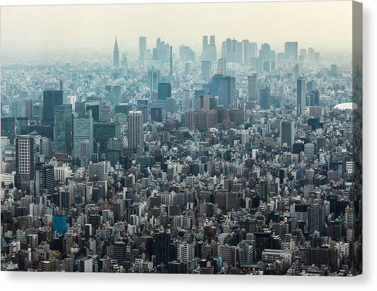 Tokyo Skyline Canvas Print - The Great Tokyo by Peteris Vaivars