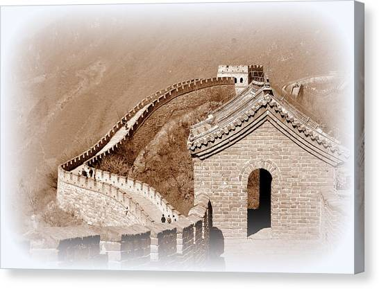 Border Wall Canvas Print - The Great Wall Of China At Mutianyu by Toni Abdnour