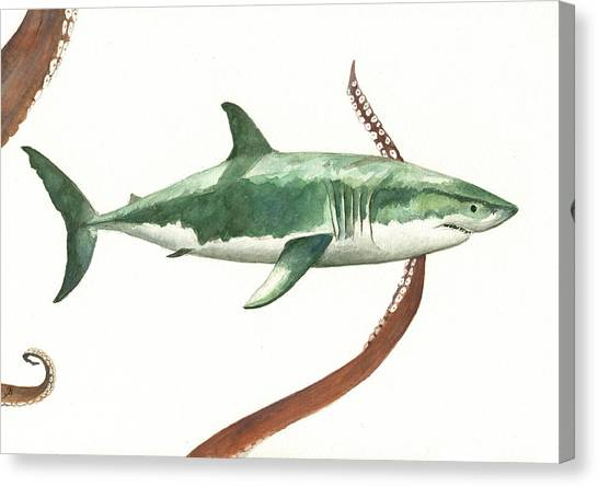 Octopus Canvas Print - The Great White Shark And The Octopus by Juan Bosco