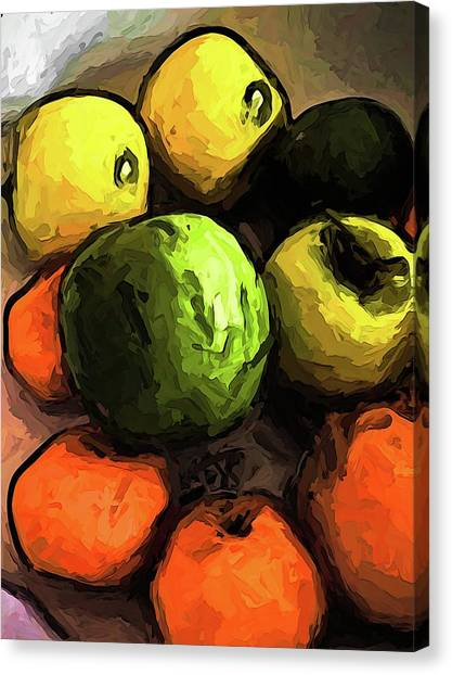 The Green And Gold Apples With The Orange Mandarins Canvas Print