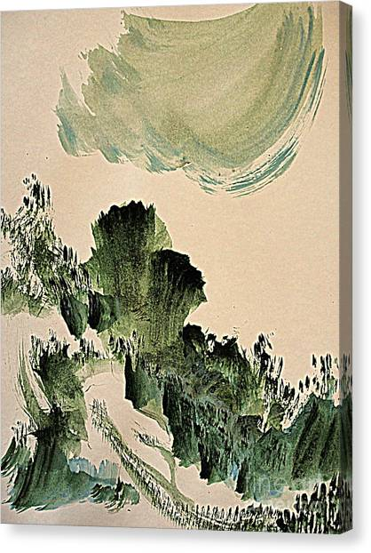 The Green Cliffs With A Cloud Canvas Print