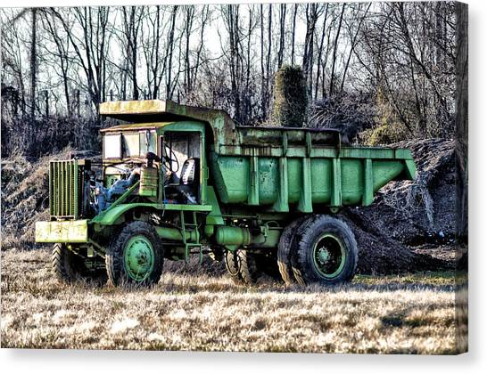 Dump Trucks Canvas Print - The Green Dump Truck by Bill Cannon