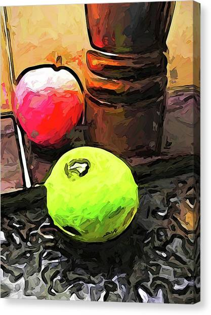 The Green Lime And The Apple With The Pepper Mill Canvas Print