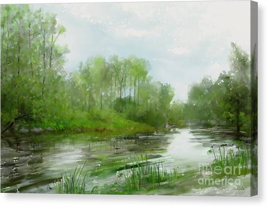 Canvas Print featuring the painting The Green Magic Of Ordinary Days by Ivana Westin