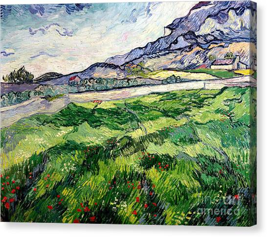 Vincent Van Gogh Canvas Print - The Green Wheatfield Behind The Asylum by Vincent van Gogh