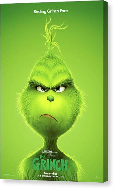 Grinch Canvas Print - The Grinch, 2018 B by Movie Poster Prints
