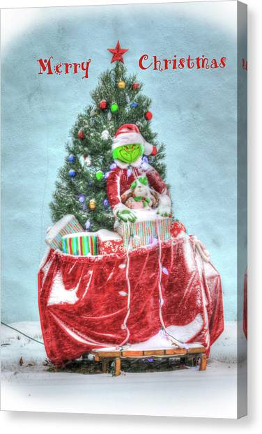 Grinch Canvas Print - The Grinch Stole Christmas Card by J Laughlin