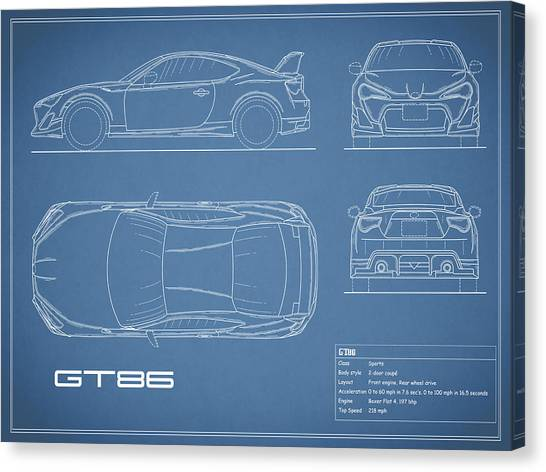 Toyota Canvas Print - The Gt86 Blueprint by Mark Rogan