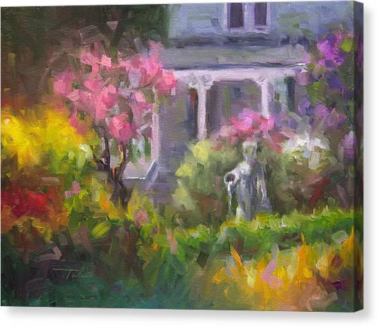 The Guardian - Plein Air Lilac Garden Canvas Print