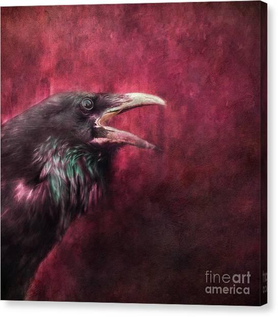 Blackbirds Canvas Print - The Guardian by Priska Wettstein