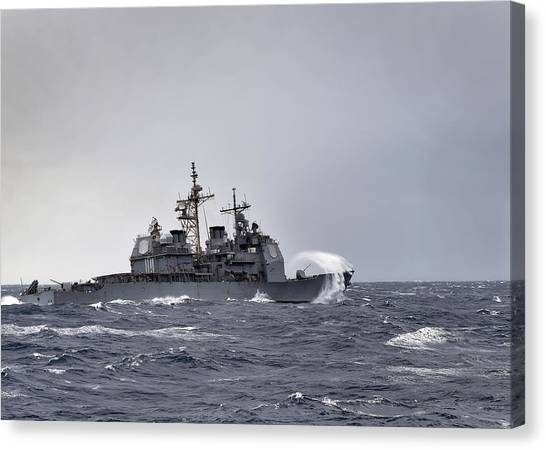Nato Canvas Print - The Guided Missile-cruiser Uss Anzio by Celestial Images
