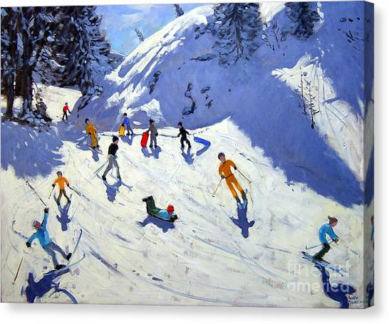 Snowboarding Canvas Print - The Gully by Andrew Macara