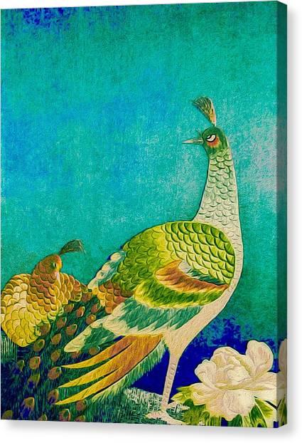 The Handsome Peacock - Kimono Series Canvas Print